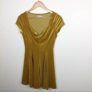 Kimchi Blue Velvet Mustard Yellow Skater Dress